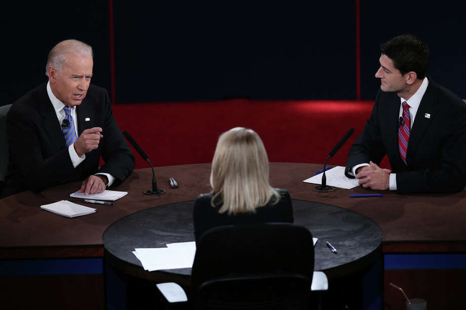 DANVILLE, KY - OCTOBER 11:  U.S. Vice President Joe Biden (L) and Republican vice presidential candidate U.S. Rep. Paul Ryan (R-WI) (R) participate in the vice presidential debate as moderator Martha Raddatz looks on at Centre College October 11, 2012 in Danville, Kentucky.  This is the second of four debates during the presidential election season and the only debate between the vice presidential candidates before the closely-contested election November 6.  (Photo by Win McNamee/Getty Images) Photo: Win McNamee, Getty Images / 2012 Getty Images