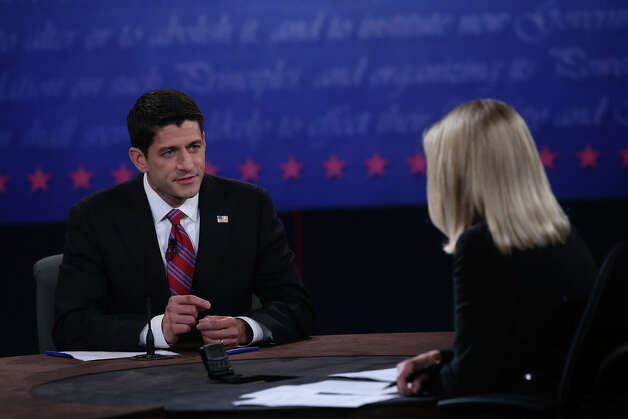 DANVILLE, KY - OCTOBER 11:  U.S. Rep. Paul Ryan (R-WI) (R) speaks during the vice presidential debate at Centre College October 11, 2012 in Danville, Kentucky.  This is the second of four debates during the presidential election season and the only debate between the vice presidential candidates before the closely-contested election November 6.  (Photo by Justin Sullivan/Getty Images) Photo: Justin Sullivan, Getty Images / 2012 Getty Images
