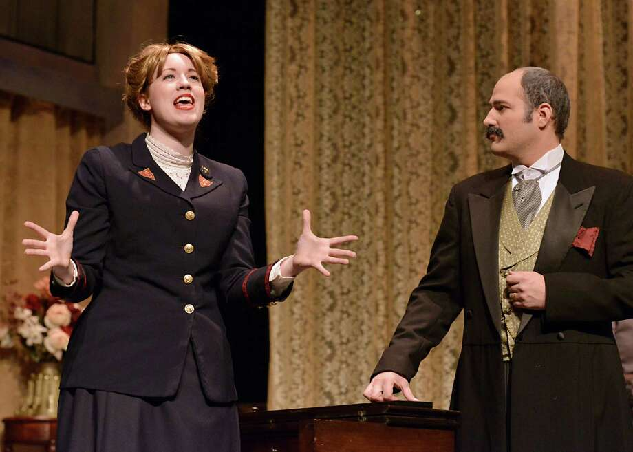 Left to right are Casey Miko, of Stratford, as Barbara Undershaft, and Sean Spencer, of Westbrook, as Andrew Undershaft, in the WCSU fall theatre production, âÄúMajor Barbara,âÄù in Danbury. Photo: Contributed Photo