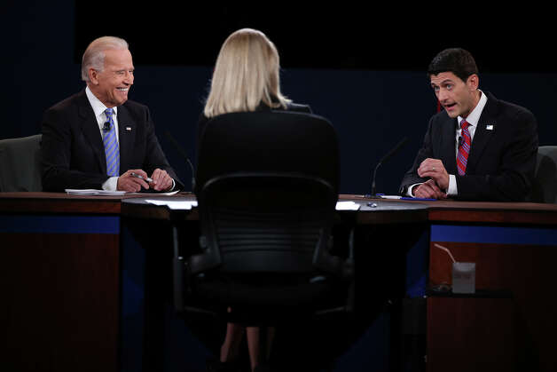 DANVILLE, KY - OCTOBER 11:  U.S. Vice President Joe Biden (L) and Republican vice presidential candidate U.S. Rep. Paul Ryan (R-WI) (R) participate in the vice presidential debate as moderator Martha Raddatz looks on at Centre College October 11, 2012 in Danville, Kentucky.  This is the second of four debates during the presidential election season and the only debate between the vice presidential candidates before the closely-contested election November 6.  (Photo by Chip Somodevilla/Getty Images) Photo: Chip Somodevilla, Getty Images / 2012 Getty Images