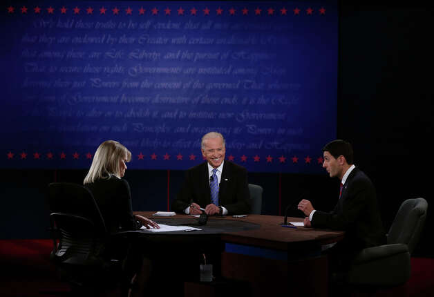 DANVILLE, KY - OCTOBER 11:  U.S. Vice President Joe Biden (C) and Republican vice presidential candidate U.S. Rep. Paul Ryan (R-WI) (R) participate in the vice presidential debateas moderator Martha Raddatz (L) looks on at Centre College October 11, 2012 in Danville, Kentucky.  This is the second of four debates during the presidential election season and the only debate between the vice presidential candidates before the closely-contested election November 6.  (Photo by Alex Wong/Getty Images) Photo: Alex Wong, Getty Images / 2012 Getty Images