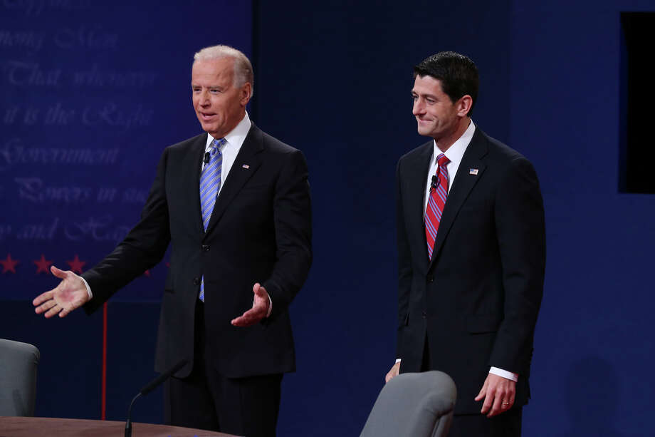 DANVILLE, KY - OCTOBER 11:  U.S. Vice President Joe Biden (L) and Republican vice presidential candidate U.S. Rep. Paul Ryan (R-WI) (R) stand on stage during the vice presidential debate at Centre College October 11, 2012 in Danville, Kentucky.  This is the second of four debates during the presidential election season and the only debate between the vice presidential candidates before the closely-contested election November 6.  (Photo by Alex Wong/Getty Images) Photo: Alex Wong, Getty Images / 2012 Getty Images