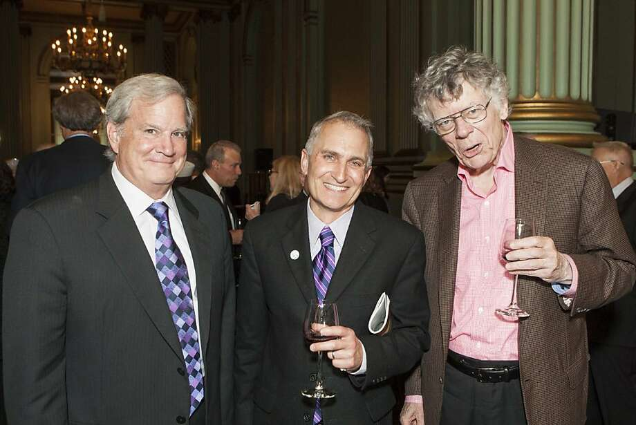 Richard Janssen, left, with Jake Heggie's husband Kurt Branom, and composer Gordon Getty. Photo: Drew Altizer Photography