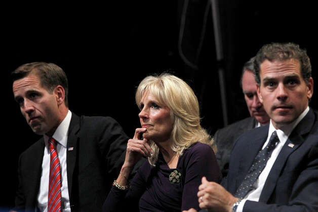 Jill Biden, center, wife of Vice President Joe Biden watches before to the start of the vice presidential debate, Thursday, Oct. 11, 2012 at Centre College in Danville, Ky.  (AP Photo/Mary Altaffer) Photo: Mary Altaffer, AP / AP2012