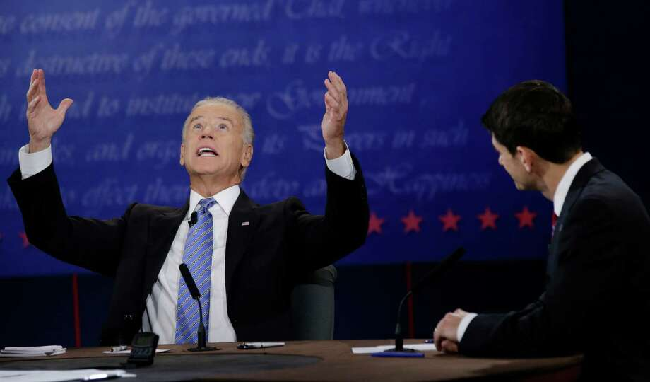 Paul Ryan watches as Joe Biden tries to make a point at their debate in Danville, Ky., on Thursday. Photo: David Goldman, Associated Press / AP