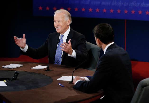 DANVILLE, KY - OCTOBER 11:  U.S. Vice President Joe Biden (L) and Republican vice presidential candidate U.S. Rep. Paul Ryan (R-WI) participate in the vice presidential debate at Centre College on October 11, 2012 in Danville, Kentucky. This is the second of four debates during the presidential election season and the only debate between the vice presidential candidates before the closely-contested election November 6.  (Photo by Rick Wilking-Pool/Getty Images) Photo: Pool, Getty Images / 2012 Getty Images