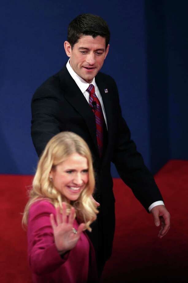 DANVILLE, KY - OCTOBER 11:  Republican vice presidential candidate U.S. Rep. Paul Ryan (R-WI) and wife Janna Ryan walk off the stage after the vice presidential debate at Centre College October 11, 2012 in Danville, Kentucky.  This is the second of four debates during the presidential election season and the only debate between the vice presidential candidates before the closely-contested election November 6.  (Photo by Win McNamee/Getty Images) Photo: Win McNamee, Getty Images / 2012 Getty Images