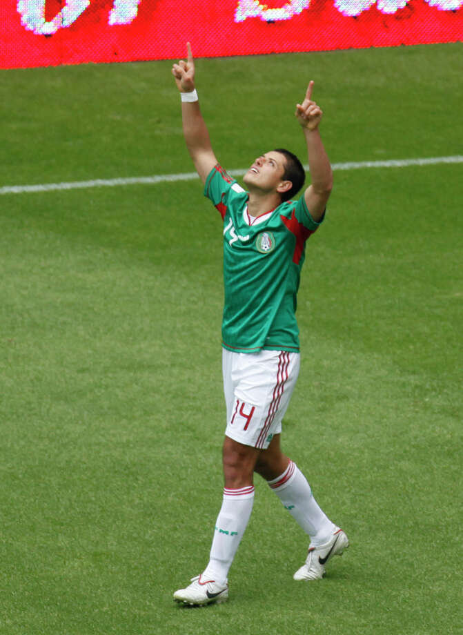 Mexico's Javier Hernandez celebrates his goal against Spain during an international friendly soccer match in Mexico City, Wednesday, Aug. 11, 2010. (AP Photo/Eduardo Verdugo) Photo: Eduardo Verdugo / AP