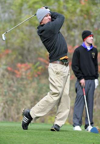 Victor Fox of Bethlehem drives his ball off a tee during the Section II state qualifier golf tournament at Orchard Creek Golf Course Thursday, Oct. 11, 2012 in Altamont, N.Y.  (Lori Van Buren / Times Union) Photo: Lori Van Buren