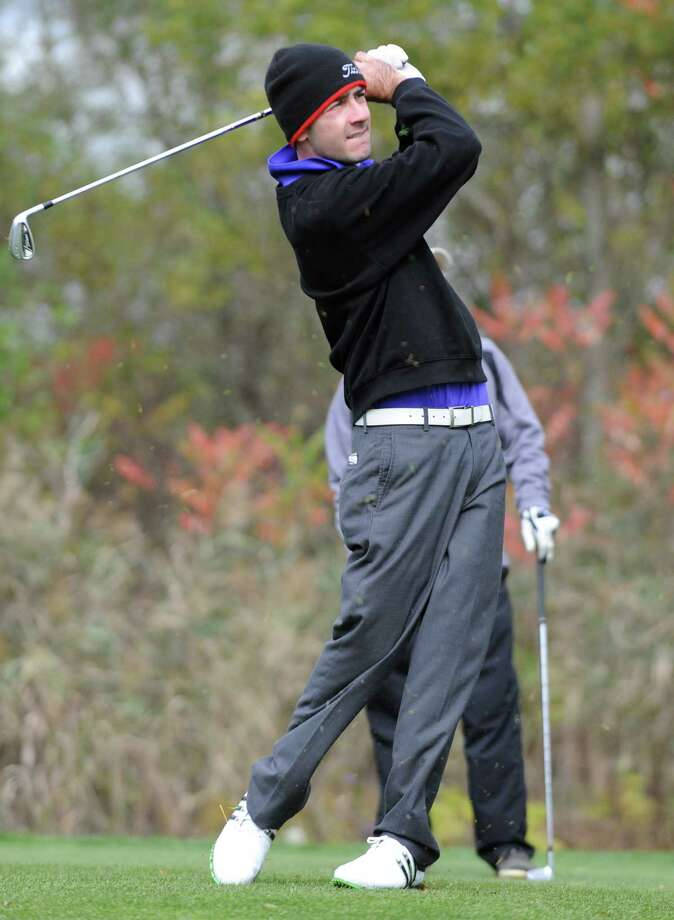 Matt Parrottino of Voorheesville drives his ball off a tee during the Section II state qualifier golf tournament at Orchard Creek Golf Course Thursday, Oct. 11, 2012 in Altamont, N.Y.  (Lori Van Buren / Times Union) Photo: Lori Van Buren