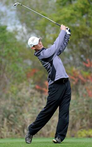 Aaron Simone of Niskayuna drives his ball off a tee during the Section II state qualifier golf tournament at Orchard Creek Golf Course Thursday, Oct. 11, 2012 in Altamont, N.Y.  (Lori Van Buren / Times Union) Photo: Lori Van Buren