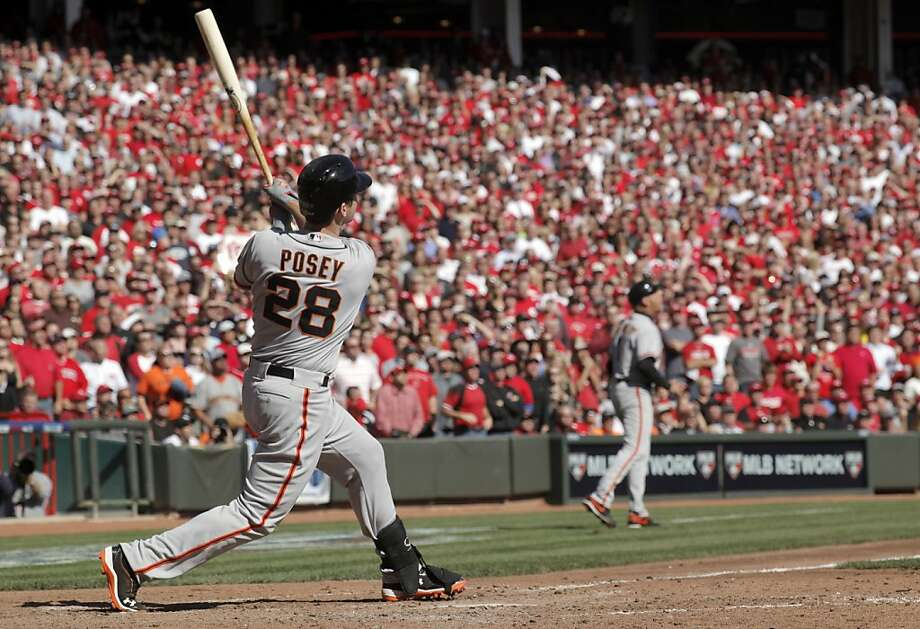 Buster Posey's fifth-inning grand slam against Mat Latos was the signature moment in a memorable five-game NLDS. Photo: Michael Macor, The Chronicle