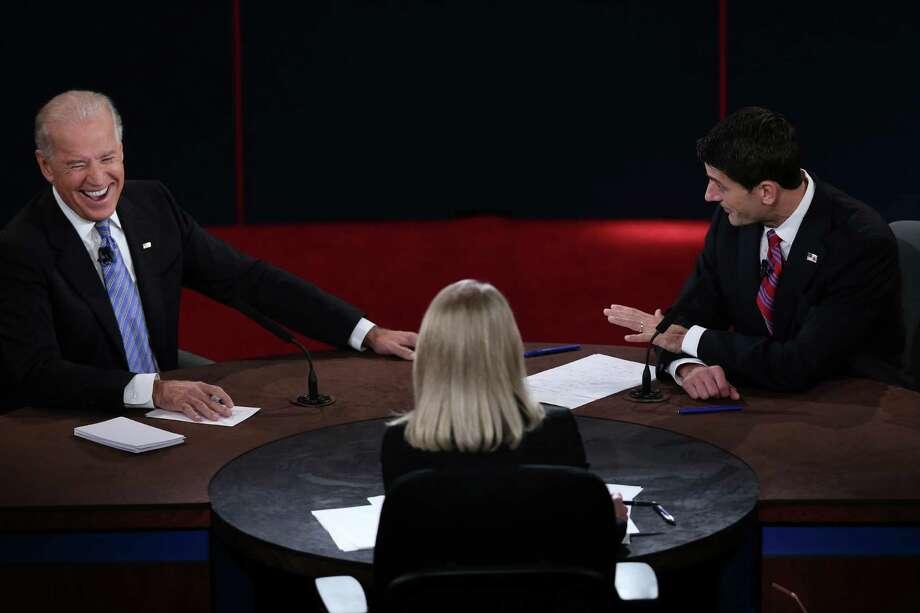 Vice President Joe Biden and U.S. Rep. Paul Ryan  debate, with Martha Raddatz as the moderator. Photo: Win McNamee / 2012 Getty Images