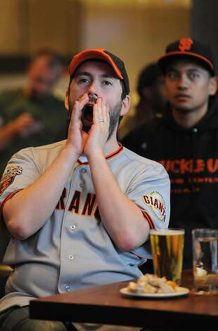 Joel Caplin cheers at the Public House in San Francisco during the Giants game on October 11, 2012. The Giants eventual won the game advancing to the National League Championship Series with a 6-4 victory over the Cincinnati Reds. Photo: Susana Bates, Special To The Chronicle