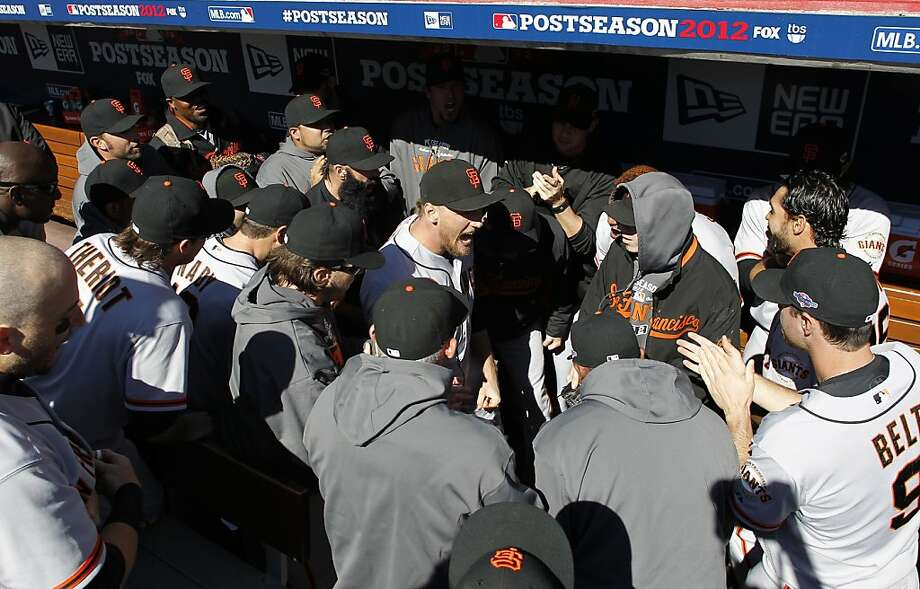 Giants' Hunter Pence, (center) rallies the team before the first pitch, as the San Francisco Giants prepare to take on the Cincinnati Reds in game five of the National League Division Series in Cincinnati, Ohio on Thursday Oct. 11, 2012. Photo: Michael Macor, The Chronicle