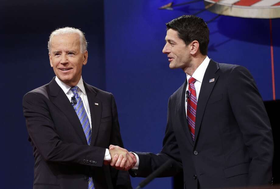Vice President Joe Biden and Republican vice presidential candidate, Rep. Paul Ryan, R-Wis., shake hands before the start of the vice presidential debate, at Centre College in Danville, Ky., Thursday, Oct. 11, 2012. (AP Photo/Pablo Martinez Monsivais) Photo: Pablo Martinez Monsivais, Associated Press / AP
