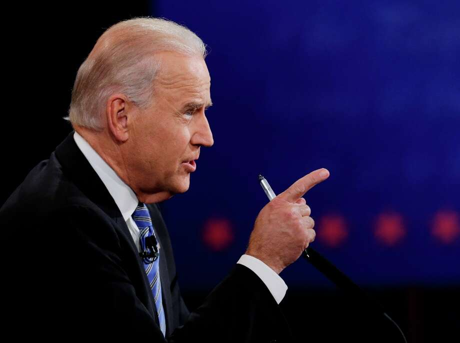 Vice President Joe Biden makes a point during the vice presidential debate with Republican vice presidential nominee Rep. Paul Ryan of Wisconsin at Centre College, Thursday, Oct. 11, 2012, in Danville, Ky. (AP Photo/Eric Gay) Photo: Eric Gay, Associated Press / AP