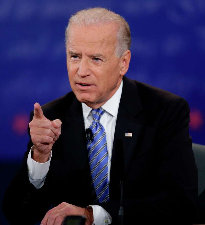 Vice President Joe Biden speaks during the vice presidential debate with Republican vice presidential nominee, Rep. Paul Ryan, of Wisconsin, at Centre College, Thursday, Oct. 11, 2012, in Danville, Ky. (AP Photo/David Goldman) Photo: David Goldman, Associated Press / AP
