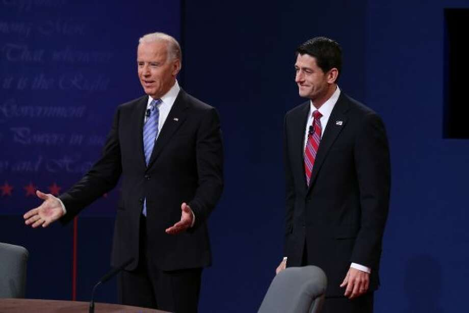 DANVILLE, KY - OCTOBER 11:  U.S. Vice President Joe Biden (L) and Republican vice presidential candidate U.S. Rep. Paul Ryan (R-WI) (R) stand on stage during the vice presidential debate at Centre College October 11, 2012 in Danville, Kentucky.  This is the second of four debates during the presidential election season and the only debate between the vice presidential candidates before the closely-contested election November 6.  (Photo by Alex Wong/Getty Images) (Getty Images)