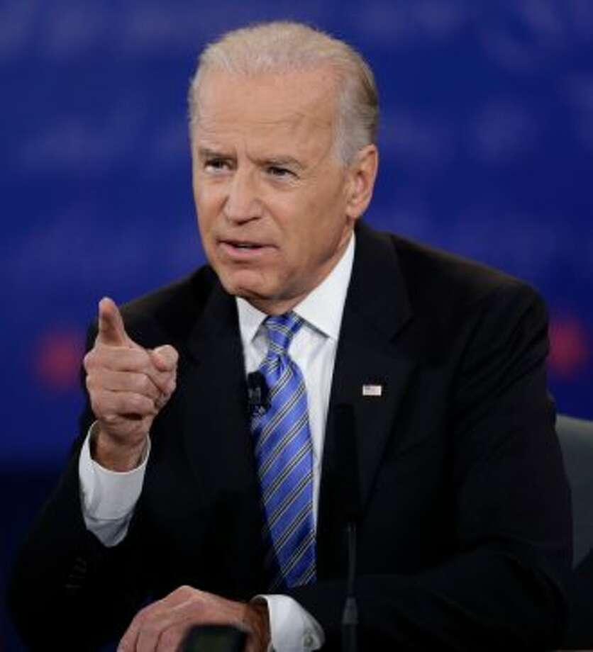 Vice President Joe Biden speaks during the vice presidential debate with Republican vice presidential nominee, Rep. Paul Ryan, of Wisconsin, at Centre College, Thursday, Oct. 11, 2012, in Danville, Ky. (AP Photo/David Goldman) (Associated Press)