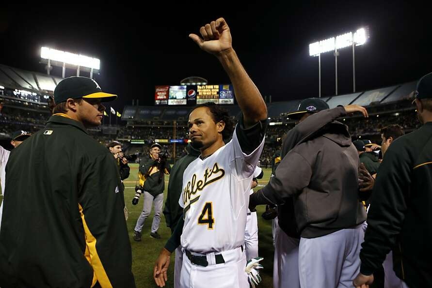 Center fielder Coco Crisp, who had a strong second half, acknowledges the crowd after the A's elimin