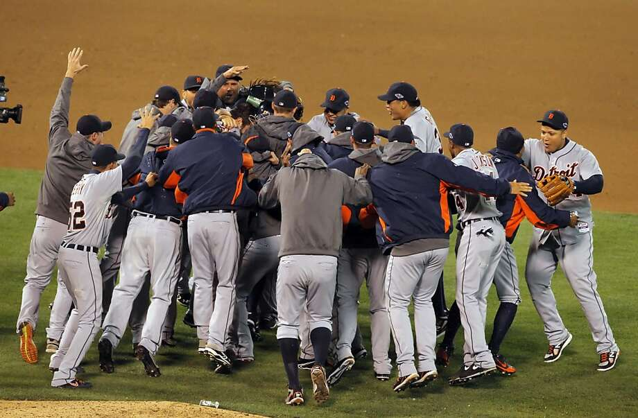 2012: Tigers players celebrate in the Coliseum after a 6-0 win in Game 5. Photo: Carlos Avila Gonzalez, The Chronicle