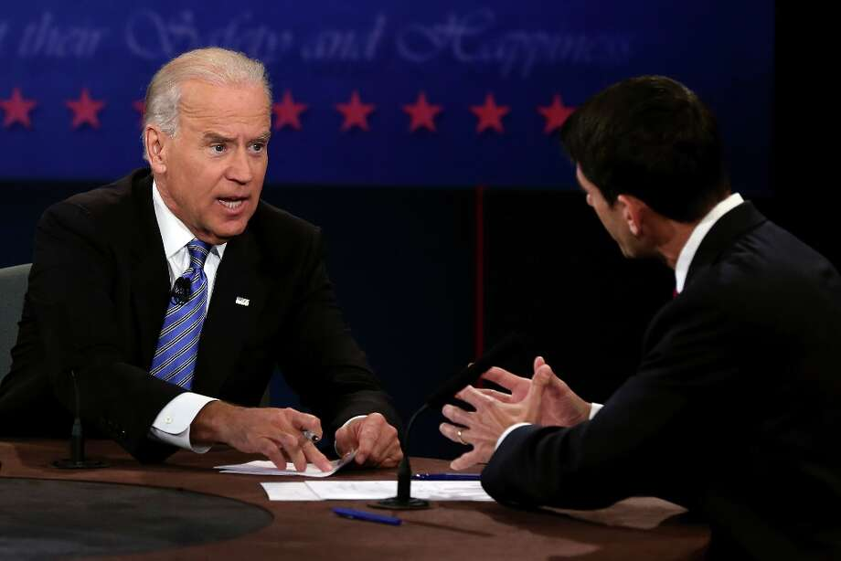 DANVILLE, KY - OCTOBER 11:  U.S. Vice President Joe Biden (L) and Republican vice presidential candidate U.S. Rep. Paul Ryan (R-WI) (R) participate in the vice presidential debate at Centre College October 11, 2012 in Danville, Kentucky.  This is the second of four debates during the presidential election season and the only debate between the vice presidential candidates before the closely-contested election November 6.  (Photo by Alex Wong/Getty Images) Photo: Alex Wong, Getty Images / 2012 Getty Images