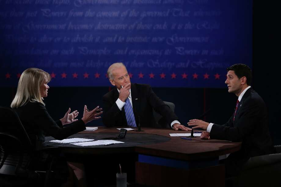 DANVILLE, KY - OCTOBER 11:  U.S. Vice President Joe Biden (C) and Republican vice presidential candidate U.S. Rep. Paul Ryan (R-WI) (R) participate in the vice presidential debate as moderator Martha Raddatz looks on at Centre College October 11, 2012 in Danville, Kentucky.  This is the second of four debates during the presidential election season and the only debate between the vice presidential candidates before the closely-contested election November 6.  (Photo by Alex Wong/Getty Images) Photo: Alex Wong, Getty Images / 2012 Getty Images