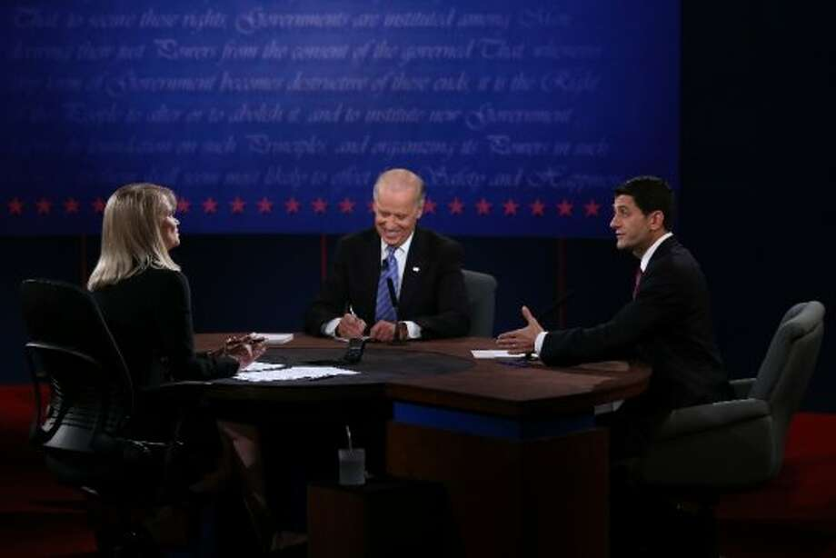 DANVILLE, KY - OCTOBER 11:  U.S. Vice President Joe Biden (C) and Republican vice presidential candidate U.S. Rep. Paul Ryan (R-WI) (R) participate in the vice presidential debate as moderator Martha Raddatz looks on at Centre College October 11, 2012 in Danville, Kentucky.  This is the second of four debates during the presidential election season and the only debate between the vice presidential candidates before the closely-contested election November 6.  (Photo by Alex Wong/Getty Images) (Getty Images)