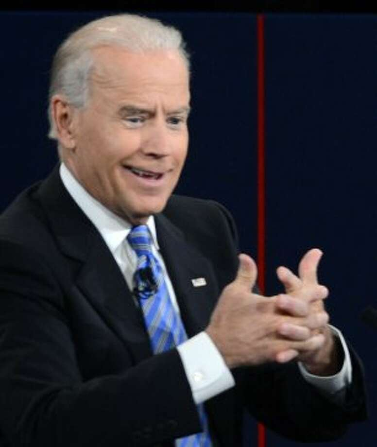 US Vice President Joe Biden participates in the vice presidential debate with Republican vice presidential candidate Paul Ryan (out of frame) at the Norton Center at Centre College in Danville, Kentucky, October 10, 2012.  AFP PHOTO / Saul LOEBSAUL LOEB/AFP/GettyImages (AFP/Getty Images)