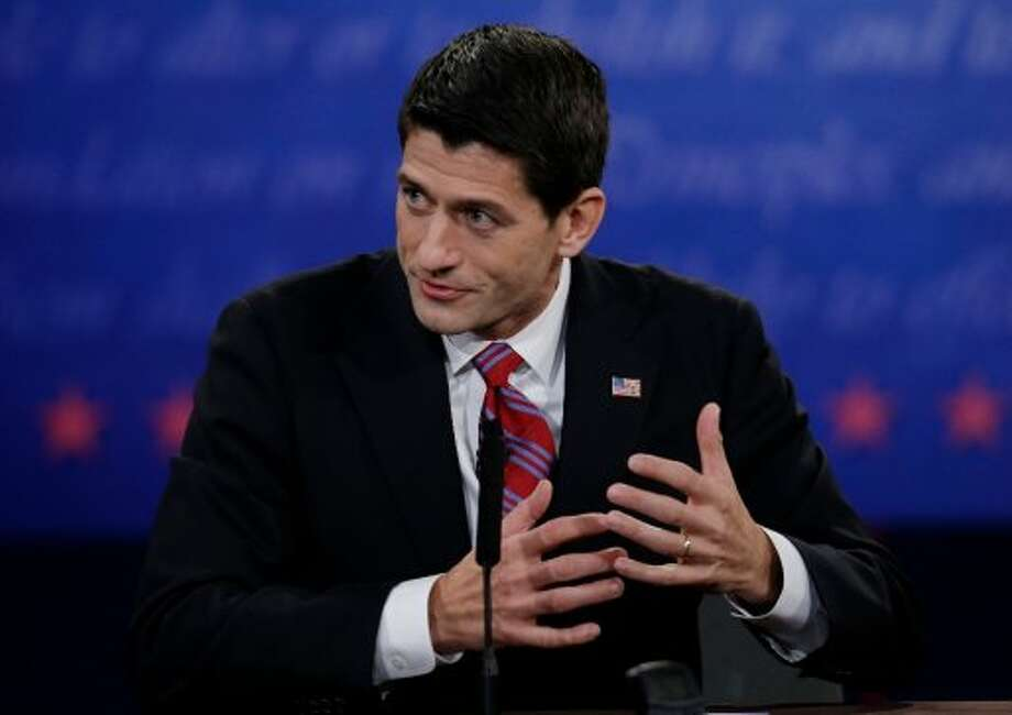Republican vice presidential nominee Rep. Paul Ryan, of Wisconsin, makes a point to Vice President Joe Biden during the vice presidential debate at Centre College, Thursday, Oct. 11, 2012, in Danville, Ky. (AP Photo/Eric Gay) (Associated Press)