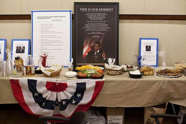 A snack table with a portrait of President Obama as members of the Rossmoor Democratic Club watch the Vice Presidential debate at the Creekside Country Club in Rossmoor, Calif., Thursday, October 11, 2012. Photo: Jason Henry, Special To The Chronicle