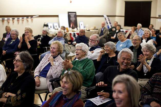 Members of the Rossmoor Democratic Club watch the Vice Presidential debate at the Creekside Country Club in Rossmoor, Calif., Thursday, October 11, 2012. Photo: Jason Henry, Special To The Chronicle