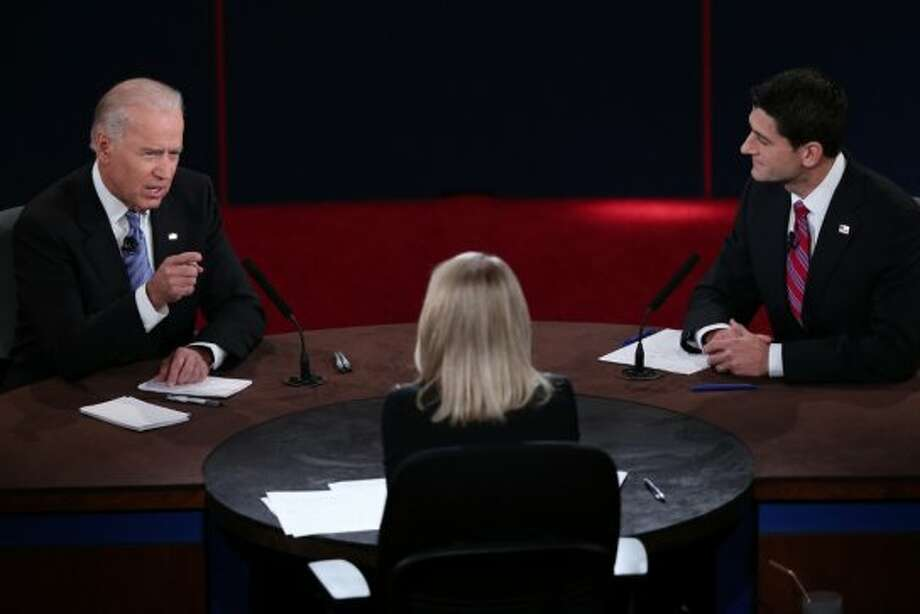 DANVILLE, KY - OCTOBER 11:  U.S. Vice President Joe Biden (L) and Republican vice presidential candidate U.S. Rep. Paul Ryan (R-WI) (R) participate in the vice presidential debate as moderator Martha Raddatz looks on at Centre College October 11, 2012 in Danville, Kentucky.  This is the second of four debates during the presidential election season and the only debate between the vice presidential candidates before the closely-contested election November 6.  (Photo by Win McNamee/Getty Images) (Getty Images)