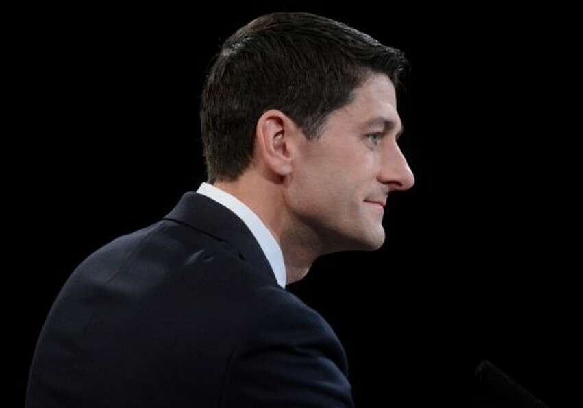 Republican vice presidential nominee Rep. Paul Ryan of Wisconsin answers a question during the vice