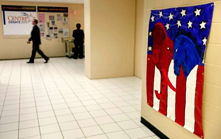A banner hangs in the media center ahead of the vice presidential debate with Republican vice presidential candidate, Rep. Paul Ryan, R-Wis., and Vice President Joe Biden, Thursday, Oct. 11, 2012, at Centre College in Danville, Ky. (AP Photo/David Goldman) (ASSOCIATED PRESS)