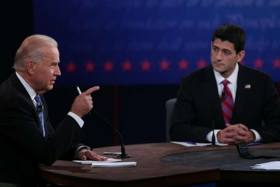 DANVILLE, KY - OCTOBER 11:  U.S. Vice President Joe Biden (L) speaks as Republican vice presidential candidate U.S. Rep. Paul Ryan (R-WI) (R) listens in the vice presidential debate at Centre College October 11, 2012 in Danville, Kentucky.  This is the second of four debates during the presidential election season and the only debate between the vice presidential candidates before the closely-contested election November 6.  (Photo by Justin Sullivan/Getty Images) (Getty Images)