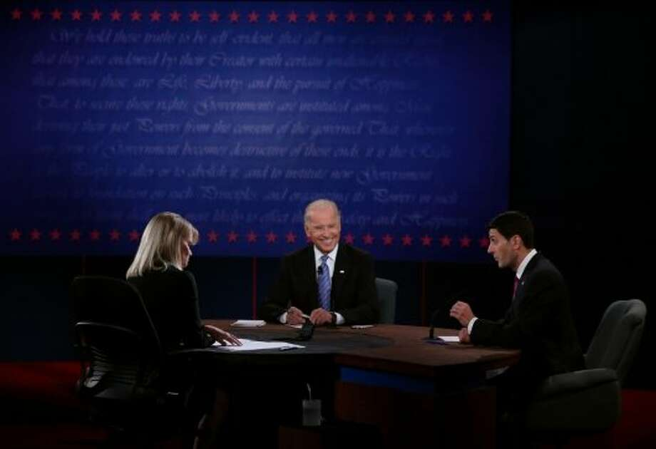 DANVILLE, KY - OCTOBER 11:  U.S. Vice President Joe Biden (C) and Republican vice presidential candidate U.S. Rep. Paul Ryan (R-WI) (R) participate in the vice presidential debateas moderator Martha Raddatz (L) looks on at Centre College October 11, 2012 in Danville, Kentucky.  This is the second of four debates during the presidential election season and the only debate between the vice presidential candidates before the closely-contested election November 6.  (Photo by Alex Wong/Getty Images) (Getty Images)