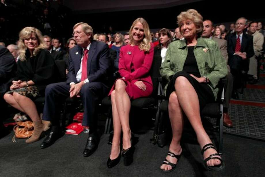 Janna Ryan, second from right, wife of Republican vice presidential candidate, Rep. Paul Ryan, R-Wis., his mother Betty Douglas, Ted Olson, second from left, former solicitor-general of the U.S. and his wife Lady Booth Olson sit in the audience before he start of the vice presidential debate, Thursday, Oct. 11, 2012, at Centre College in Danville, Ky.  (AP Photo/Mary Altaffer) (AP)