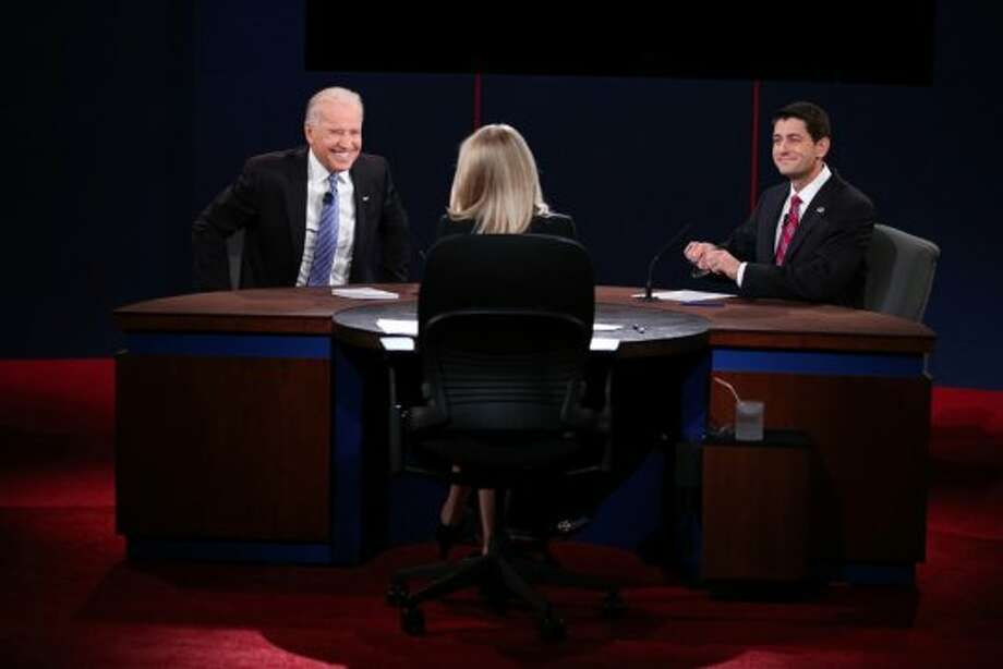DANVILLE, KY - OCTOBER 11:  U.S. Vice President Joe Biden (L) and Republican vice presidential candidate U.S. Rep. Paul Ryan (R-WI) (R) participate in the vice presidential debate as moderator Martha Raddatz looks on at Centre College October 11, 2012 in Danville, Kentucky.  This is the second of four debates during the presidential election season and the only debate between the vice presidential candidates before the closely-contested election November 6.  (Photo by Chip Somodevilla/Getty Images) (Getty Images)