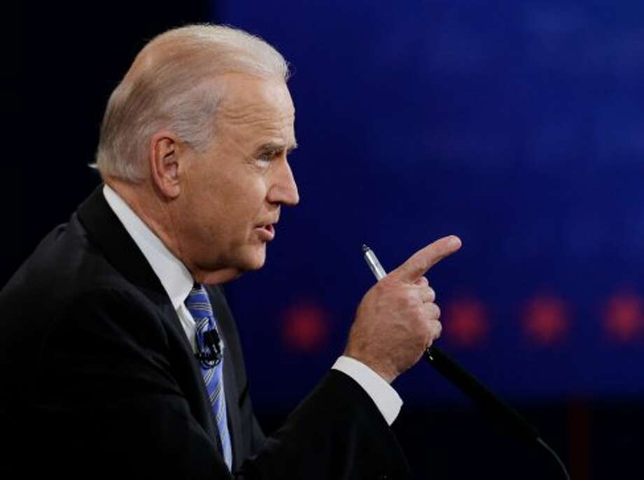 Vice President Joe Biden makes a point during the vice presidential debate with Republican vice presidential nominee Rep. Paul Ryan of Wisconsin at Centre College, Thursday, Oct. 11, 2012, in Danville, Ky. (AP Photo/Eric Gay) (Associated Press)