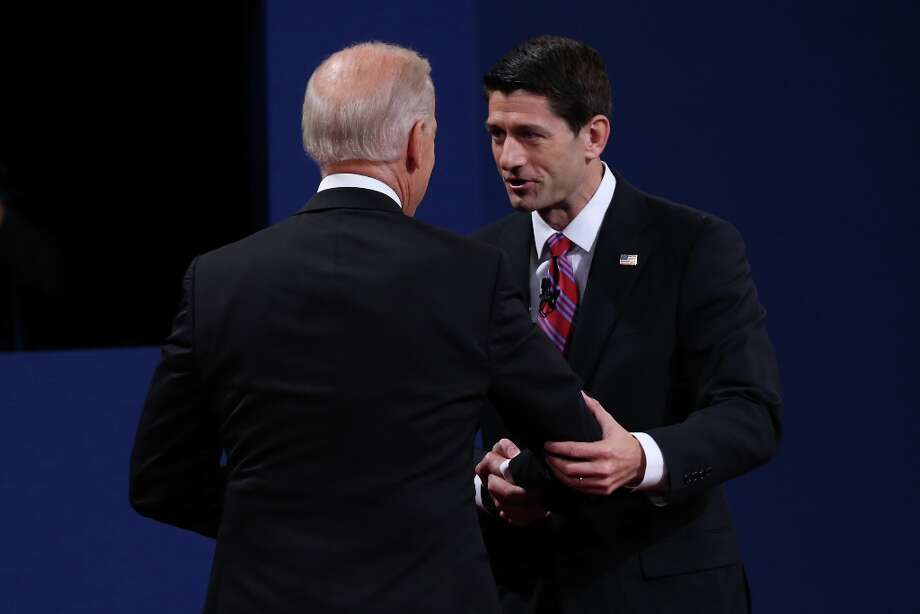 DANVILLE, KY - OCTOBER 11:  U.S. Vice President Joe Biden (L) shakes hands with Republican vice presidential candidate U.S. Rep. Paul Ryan (R-WI) (R) after the vice presidential debate at Centre College October 11, 2012 in Danville, Kentucky.  This is the second of four debates during the presidential election season and the only debate between the vice presidential candidates before the closely-contested election November 6.  (Photo by Justin Sullivan/Getty Images) Photo: Justin Sullivan, Getty Images / 2012 Getty Images
