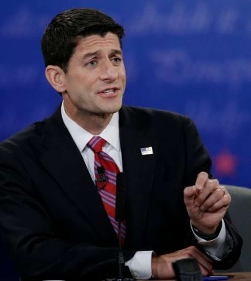 Republican vice presidential nominee Rep. Paul Ryan, of Wisconsin, makes a point during the vice presidential debate with Vice President Joe Biden at Centre College, Thursday, Oct. 11, 2012, in Danville, Ky. (AP Photo/Eric Gay) (Associated Press)