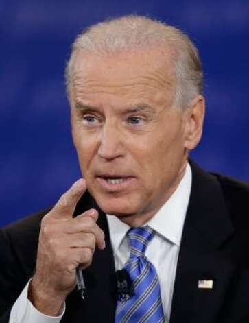 Vice President Joe Biden speaks during the vice presidential debate with Republican vice presidential nominee Rep. Paul Ryan, of Wisconsin, at Centre College, Thursday, Oct. 11, 2012, in Danville, Ky. (AP Photo/David Goldman) (Associated Press)