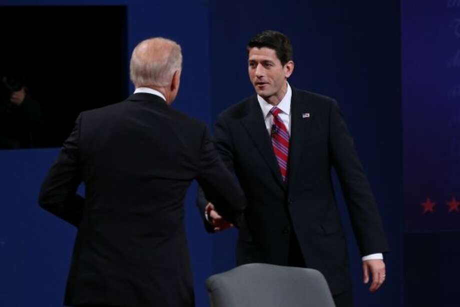 DANVILLE, KY - OCTOBER 11:  U.S. Vice President Joe Biden (L) shakes hands with Republican vice presidential candidate U.S. Rep. Paul Ryan (R-WI) (R) after the vice presidential debate at Centre College October 11, 2012 in Danville, Kentucky.  This is the second of four debates during the presidential election season and the only debate between the vice presidential candidates before the closely-contested election November 6.  (Photo by Justin Sullivan/Getty Images) (Getty Images)