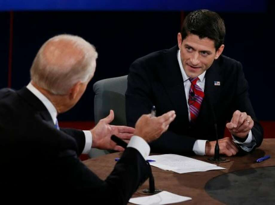 Vice President Joe Biden and Republican vice presidential nominee Rep. Paul Ryan of Wisconsin participate in the vice presidential debate at Centre College, Thursday, Oct. 11, 2012, in Danville, Ky. (AP Photo/Pool-Rick Wilking) (Associated Press)