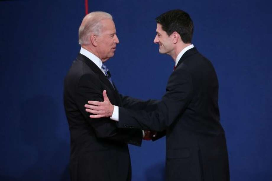 DANVILLE, KY - OCTOBER 11:  U.S. Vice President Joe Biden (L) shakes hands with Republican vice presidential candidate U.S. Rep. Paul Ryan (R-WI) (R) during the vice presidential debate at Centre College October 11, 2012 in Danville, Kentucky.  This is the second of four debates during the presidential election season and the only debate between the vice presidential candidates before the closely-contested election November 6.  (Photo by Win McNamee/Getty Images) (Getty Images)