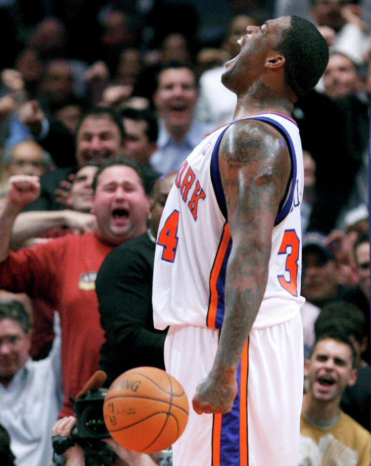 The New York Knicks' Eddy Curry reacts after drawing a foul while scoring against the Denver Nuggets in the fourth quarter Tuesday, Nov. 6, 2007, at Madison Square Garden in New York. Curry scored 24 points in the game and the Knicks won 119-112. (Julie Jacobson / Associated Press) Photo: Julie Jacobson, AP / AP