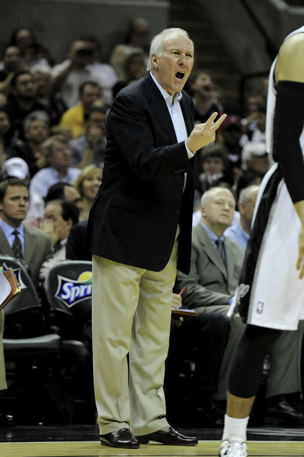 San Antonio Spurs head coach Gregg Popovich yells to his players during a NBA basketball game between the Philadelphia 76ers and the San Antonio Spurs at the AT&T Center in San Antonio, Texas on March 25, 2012.John Albright / Special to the Express-News. Photo: JOHN ALBRIGHT, San Antonio Express-News / San Antonio Express-News