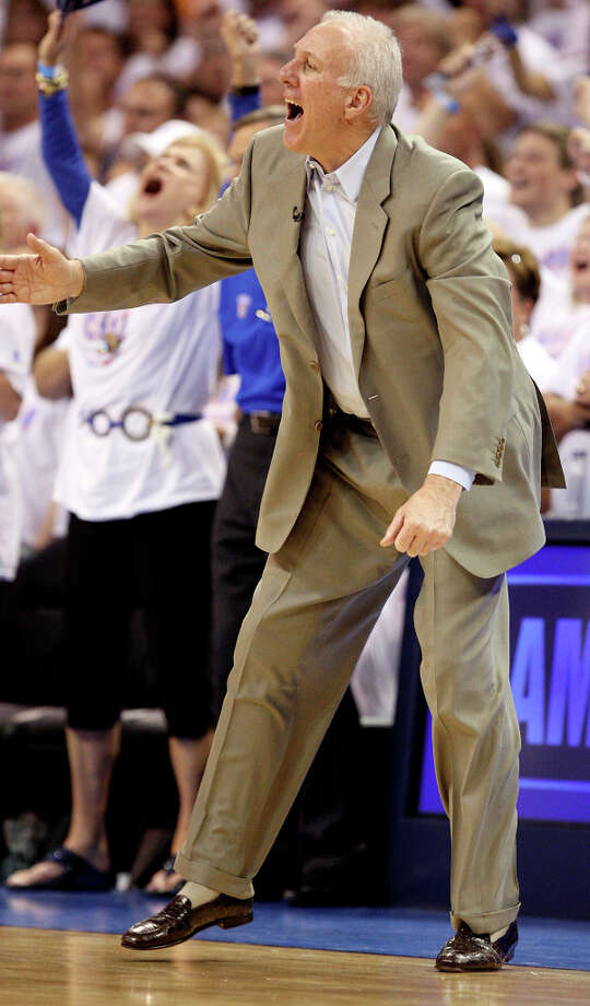 San Antonio Spurs coach Gregg Popovich motions during the second half of game six of the NBA Western Conference Finals in Oklahoma City, Okla. on Wednesday, June 6, 2012. The Thunder won 107-99. Photo: Jerry Lara, San Antonio Express-News / © 2012 San Antonio Express-News